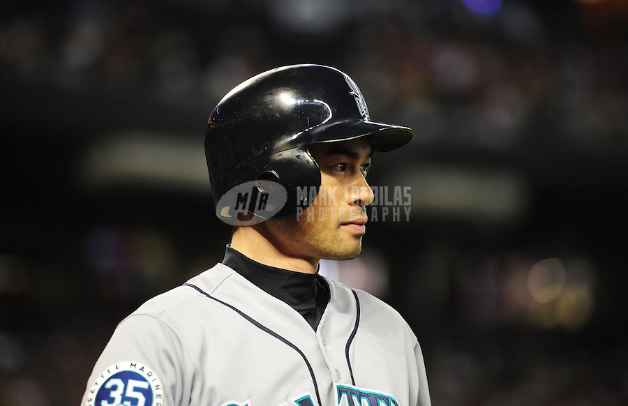 Jun. 20, 2012; Phoenix, AZ, USA; Seattle Mariners outfielder Ichiro Suzuki in the sixth inning against the Arizona Diamondbacks at Chase Field.  Mandatory Credit: Mark J. Rebilas-