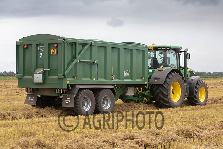25.7.2020 Tractor and trailer waiting to cart linseed at harvest time<br /> ©Tim Scrivener Photographer 07850 303986<br />      ....Covering Agriculture In The UK.