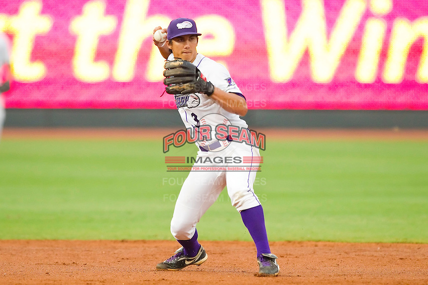 Shortstop Tyler Saladino #3 of the Winston-Salem Dash makes a throw to first base against the Frederick Keys at BB&T Ballpark on August 5, 2011 in Winston-Salem, North Carolina.  The Dash defeated the Keys 10-0.   Brian Westerholt / Four Seam Images