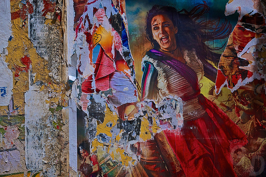 Bollywood ripped Movie poster on a wall in Jaisalmer, India
