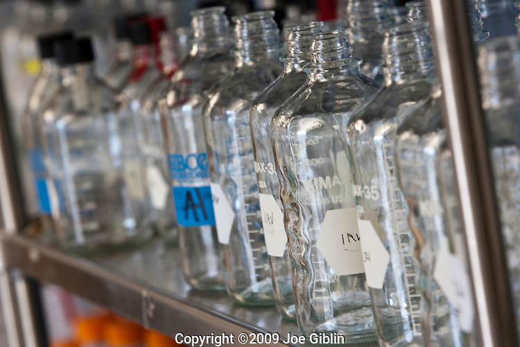 Glass bottles in a new biology lab on the campus of the University of Rhode Island. (Photo/Joe Giblin)
