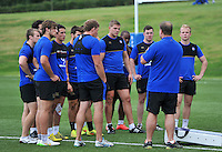 Bath Rugby Forwards coach Neal Hatley speaks to his players. Bath Rugby training session on August 4, 2015 at Farleigh House in Bath, England. Photo by: Patrick Khachfe / Onside Images