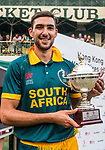 Corne Dry of South Africa celebrates winning Hong Kong Cricket World Sixes 2017 Cup final match between Pakistan vs South Africa at Kowloon Cricket Club on 29 October 2017, in Hong Kong, China. Photo by Vivek Prakash / Power Sport Images