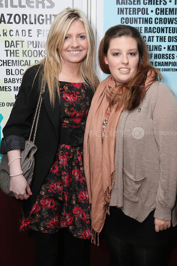 NO REPRO FEE. OXYGEN 2011 LAUNCH. Pictured at the Academy, Dublin for the launch of Oxygen 2011 are Lara Delaney and Sandra Kelly . The three day music festival which takes place July 8th, 9th, 10th at Punchestown Racecourse, Naas, Co Kildare. Picture James Horan/Collins Photos