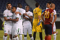 BARRANQUIILLA -COLOMBIA-11-02-2015. Jugadores del Deportivo Cali celebran la victoria sobre Uniautónoma en partido por la fecha 3 de la Liga Aguila I 2015 jugado en el estadio Metropolitano de la ciudad de Barranquilla./ Players of Deportivo Cali celebrate the victory over Uniautonoma in match valid for the third date of the Aguila League I 2015 played at Metropolitano stadium in Barranquilla city.  Photo: VizzorImage/Alfonso Cervantes/STR