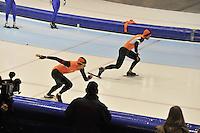 SCHAATSEN: HEERENVEEN: 01-02-2014, IJsstadion Thialf, Olympische testwedstrijd, Stefan Groothuis, Michel Mulder, ©foto Martin de Jong