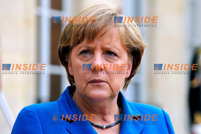 Angela Merkel .Parigi 27/06/2012 Incontro del cancelliere Tedesco con il Presidente Francese all'Eliseo..Photo Gerard Roussel / Panoramic / Insidefoto.ITALY ONLY