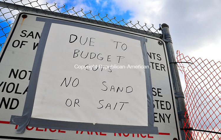 WINSTED, CT- 08 JANUARY 2008 --010809JS01-A sign at the Winchester Department of Public Works, gives notice to residents that their is no sand or saly available due to budget cuts. <br /> Jim Shannon / Republican-American