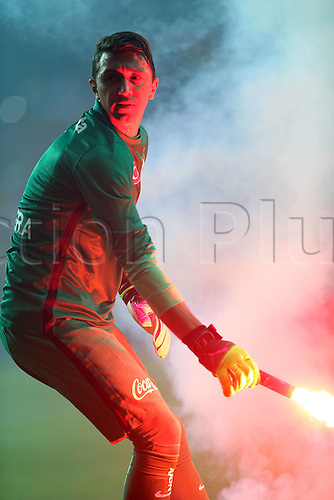 26.05.2016. Antalya , Turkey. Ziraat Turkish Cup Final match between Fenerbahce and Galatasaray at Antalya Arena on May 26.  Goalkeeper Fernando Muslera of Galatasaray removes flares from the pitch