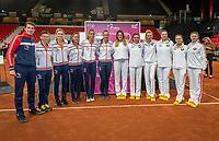 The Hague, The Netherlands, Februari 6, 2020,    Sportcampus, FedCup  Netherlands -  Balarus, Team Netherlands (L) and team Belarus.<br /> Photo: Tennisimages/Henk Koster