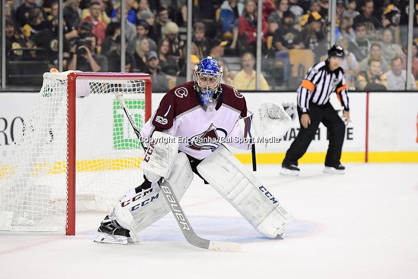 October 9, 2017: Colorado Avalanche goalie Semyon Varlamov (1) tends the net during the NHL game between the Colorado Avalanche and the Boston Bruins held at TD Garden, in Boston, Mass. Colorado defeats Boston 4-0. Eric Canha/CSM