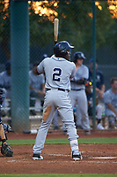 AZL Padres 1 designated hitter Victor Nova (2) at bat during an Arizona League game against the AZL Indians Red on June 23, 2019 at the Cleveland Indians Training Complex in Goodyear, Arizona. AZL Indians Red defeated the AZL Padres 1 3-2. (Zachary Lucy/Four Seam Images)