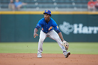 Durham Bulls shortstop Lucius Fox (3) on defense against the Charlotte Knights at BB&T BallPark on July 31, 2019 in Charlotte, North Carolina. The Knights defeated the Bulls 9-6. (Brian Westerholt/Four Seam Images)