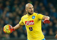 Napoli's Pepe Reina during the  italian serie a soccer match,between SSC Napoli and AS Roma       at  the San  Paolo   stadium in Naples  Italy ,December 13, 2015