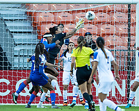 HOUSTON, TX - JANUARY 31: Maria Bermudez #1 of Costa Rica goes up for a save during a game between Haiti and Costa Rica at BBVA Stadium on January 31, 2020 in Houston, Texas.