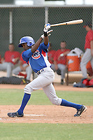 Evan Crawford of the Chicago Cubs plays in a minor league spring training game against the Los Angeles Angels at the Angels complex on April 2, 2011  in Tempe, Arizona. .Photo by:  Bill Mitchell/Four Seam Images.