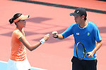 Kaito Uesugi &    Erina Hayashi (JPN), <br /> AUGUST 19, 2018 - Tennis : <br /> Mixed Doubles Round 1 <br /> at Jakabaring Sport Center Tennis Court <br /> during the 2018 Jakarta Palembang Asian Games <br /> in Palembang, Indonesia. <br /> (Photo by Yohei Osada/AFLO SPORT)