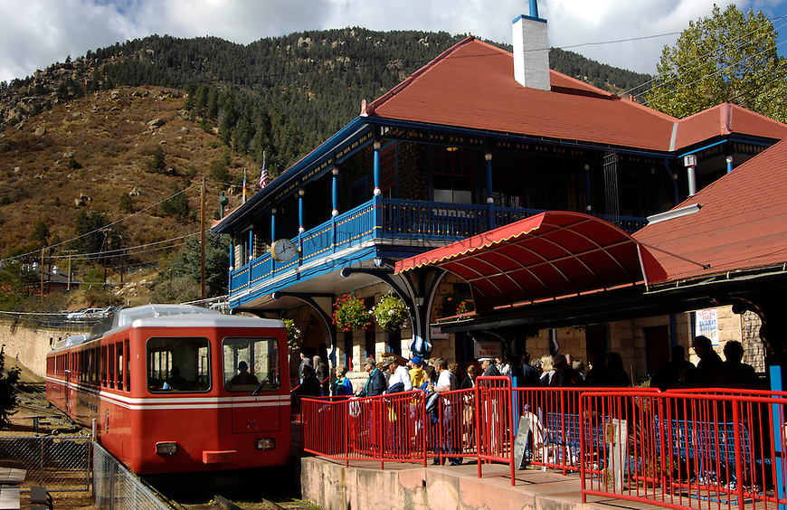 People line up to ride the cog train that climbs the 14,110 foot Pike's Peak mountain. Michael Brands for The New York Times.