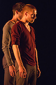 """17/12/2013. London, England. Pictured: Jon Savage and Adam Park.  Rambert Dance Company present an """"Evening of new choreography"""" with five new works choreographed by members of the Company at the Lilian Baylis Studio, Sadler's Wells, London.  Piece: """"Entre tú y yo"""", choregraphed by Estela Merlos with dancers: Miguel Altunaga; Adam Park; Hannah Rudd and Jon Savage. Photo credit: Bettina Strenske"""
