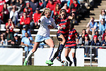 12 November 2016: Liberty's Devon Jones (10) and North Carolina's Annie Kingman (7). The University of North Carolina Tar Heels played the Liberty University Flames at Fetzer Field in Chapel Hill, North Carolina in a 2016 NCAA Division I Women's Soccer Tournament First Round match. UNC won the game 3-0