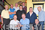 Murphy's bar Golf Society presents the President's Prize winners it trophies in Murohy's bar Killarney on Saturday night front row l-r: Sean Murphy President, Matthew O'Connor winner, Padraig O'Brien Captain. Back row: John Hartigan, Kevin O'Carroll, Mike Casey, James O'Reilly, Pat Casey, Niall Brosnan and John O'Shea...