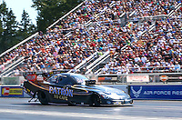 Aug. 3, 2014; Kent, WA, USA; NHRA funny car driver Alexis DeJoria during the Northwest Nationals at Pacific Raceways. Mandatory Credit: Mark J. Rebilas-USA TODAY Sports