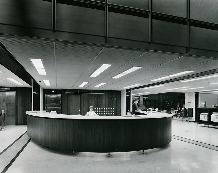 1962 September .Redevelopment..Downtown South (R-9)..Kirn Memorial Library Interior..HAYCOX - R. V. Fishbeck.NEG# 64-994-2.3003..