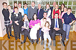 Congratulations - Michelle & Tom Fitzmaurice from Ballyheigue, seated centre having a wonderful time with family and friends at the Christening celebrations for their son Nicholas held in The Ballyroe Heights Hotel on Sunday afternoon following the ceremony in St. Bernard's Church, Abbeydorney. Front Grace Fitzmaurice, seated l/r Aishling Fitzmaurice (Godmother), Michelle, Nicholas, Tom & Luke Fitzmaurice and Andre Roche (Godfather), standing l/r  Mary & Robert O'Mahony, Mary Baldwin, Eileen Fitzmaurice, Alan O'Mahony, Alan Buckley, Roland Baldwin, John Baldwin, Mary Fitzmaurice, Tom Fitzmaurice, Mairead O'Flynn, Mary O'Mahony, Helen O'Mahony and Dylan O'Mahony.......................................................................................................................................................................................................................................................................................................... ............
