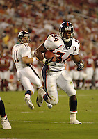 Aug. 31, 2006; Glendale, AZ, USA; Denver Broncos running back (34) Cedric Cobbs rushes for a two point conversion against the Arizona Cardinals at Cardinals Stadium in Glendale, AZ. Mandatory Credit: Mark J. Rebilas