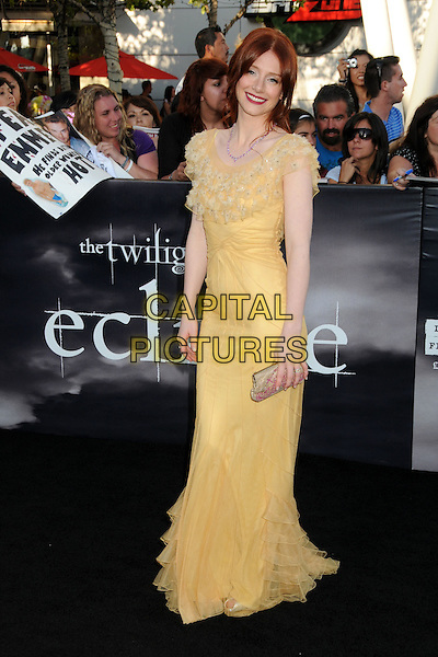 "BRYCE DALLAS HOWARD .""The Twilight Saga: Eclipse"" Los Angeles Premiere at the 2010 Los Angeles Film Festival held at Nokia Theatre LA Live, Los Angeles, California, USA, 24th June 2010..full length long maxi yellow dress ruffles ruffle clutch bag .CAP/ADM/BP.©Byron Purvis/AdMedia/Capital Pictures."
