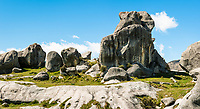 Rock formations at Castle Hill near Porter's Pass, Canterbury, South Island, New Zealand, NZ