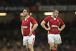 Cardiff, WALES - November 24:.Autumn International.Wales v New Zealand.Gethin Jenkins and Scott Andrews stand dejected at the final whistle after losing to the All Blacks..24.11.12..©Steve Pope - Sportingwales
