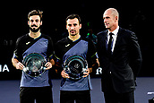 5th November 2017, Paris, France. Rolex Masters mens tennis doubles tournament final;  Ivan Dodig (Cro) and Marcel Granollers (Esp) finalists with Guy Forget - tournament director