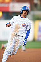 South Bend Cubs shortstop Gleyber Torres (7) running the bases during a game against the Cedar Rapids Kernels on June 5, 2015 at Four Winds Field in South Bend, Indiana.  South Bend defeated Cedar Rapids 9-4.  (Mike Janes/Four Seam Images)