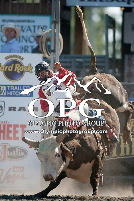 28 Aug 2011:   Bobby Welsh riding the bull Indian Outlaw scored a 82 during the first round of the Seminole Hard Rock Extreme Bulls competition at the Kitsap County Stampede in Bremerton, Washington.