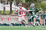 Palos Verdes, CA 04/20/10 - Cole Bender (Palos Verdes #27) and Marcus Egeck (Mira Costa #9) in action during the Mira Costa-Palos Verdes boys lacrosse game.