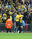 Alfie Potter of Oxford United (r) celebrates scoring the third goal with Simon Clist of Oxford United during the Blue Square Premier play-off final between Oxford United and York City at Wembley Stadium, London on 16th May,2010.© Kevin Coleman 2010