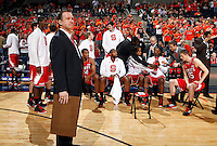 North Carolina State head coach Mark Gottfried stands in front of his team during the game against Virginia Saturday in Charlottesville, VA. Virginia defeated NC State 58-55.