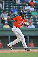 Designated hitter K.J. Woods (32) of the Greensboro Grasshoppers bats in a game against the Greenville Drive on Thursday, August 27, 2015, at Fluor Field at the West End in Greenville, South Carolina. Greenville won, 10-2.  (Tom Priddy/Four Seam Images)