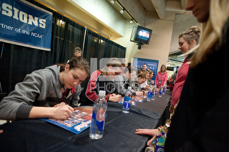 INDIANAPOLIS, IN - APRIL 2, 2011: Sara James during the post-practice autograph session at Conseco Fieldhouse at the NCAA Final Four in Indianapolis, IN on April 1, 2011.