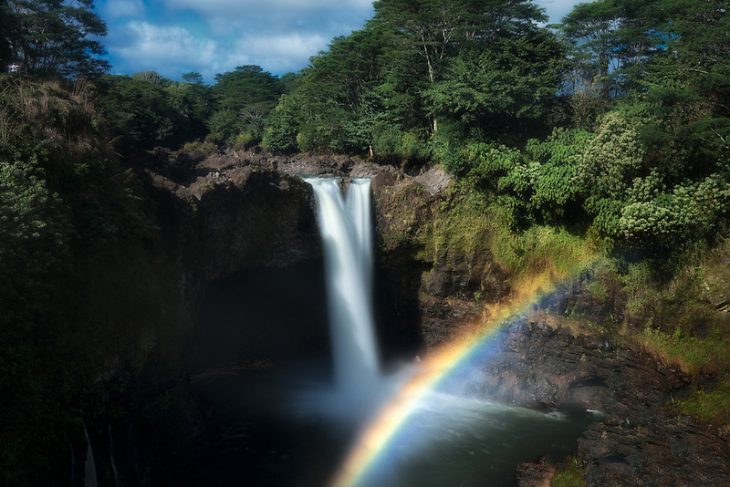 Rainbow Falls with rainbow. Hawaii Island. The Big Island