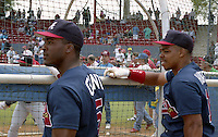 Atlanta Braves Ron Gant (5) and Brian Hunter (14) during spring training circa 1992 at Chain of Lakes Park in Winter Haven, Florida.  (MJA/Four Seam Images)