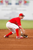 June 19, 2009:  Second Baseman Devin Goodwin of the Batavia Muckdogs in the field during a game at Dwyer Stadium in Batavia, NY.  The Muckdogs are the NY-Penn League Short-Season Class-A affiliate of the St. Louis Cardinals.  Photo by:  Mike Janes/Four Seam Images