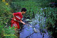 FA27-177z  Child using net to catch insects in Pond - PRA