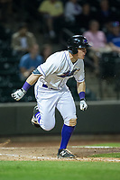 Jeff Gelalich (18) of the Winston-Salem Dash hustles down the first base line against the Myrtle Beach Pelicans at BB&T Ballpark on May 11, 2017 in Winston-Salem, North Carolina.  The Pelicans defeated the Dash 9-7.  (Brian Westerholt/Four Seam Images)