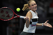 February 3rd 2019. St Petersburg, Russia; Donna Vekic of Croatia returns the ball to Kiki Bertens of Netherlands during the St. Petersburg Ladies Trophy tennis tournament final match on February 03, 2019, at Sibur Aren