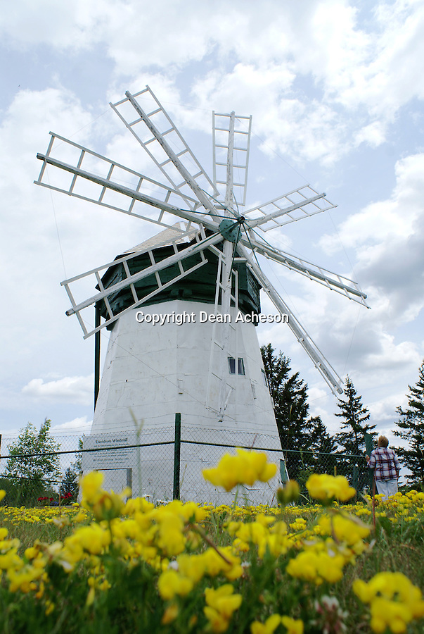 Flowers surround the Davidson Windmill, southeast of Superior in Douglas County, WI. The windmill was built by Jacob Davidson and operated from the period 1900-1924. It's located on Highway 13.