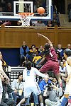 22 February 2013: Florida State's Morgan Toles (1) shoots a layup behind Duke's Alexis Jones (2). The Duke University Blue Devils played the Florida State University Seminoles at Cameron Indoor Stadium in Durham, North Carolina in a 2012-2013 NCAA Division I and Atlantic Coast Conference women's college basketball game. Duke won the game 61-50.