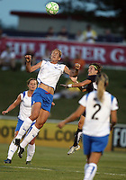 Sonia Bompastor #8 of the Washington Freedom goes up for a header against Maggie Tomecks#5 of the Boston Breakers during a WPS match at Maryland Soccerplex on July 29, in Boyds, Maryland. Freedom won 1-0.