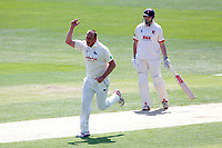 Luke Fletcher of Notts celebrates taking the wicket of Daniel Lawrence during Essex CCC vs Nottinghamshire CCC, Specsavers County Championship Division 1 Cricket at The Cloudfm County Ground on 15th May 2019
